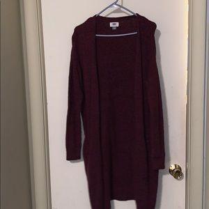 Long maroon sweater cardigan